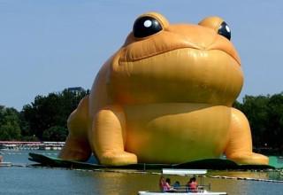 Китайские цензоры начали удалять фото гигантской надувной жабы из-за ее сходства с Цзян Цзэминем