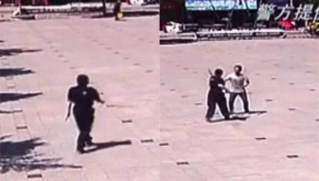 китаянка дерется с грабителем