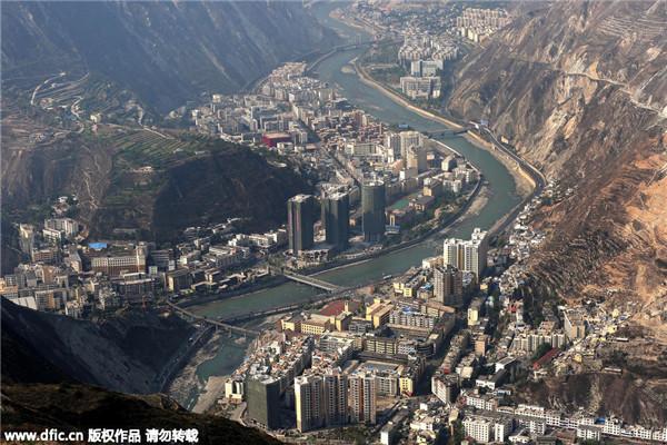 Вид уезда Вэньчуань 18 апреля 2013 года. Фото: IC