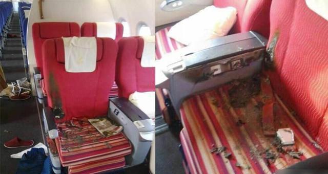 Сиденья на борту рейса ZH9648, которые были подожжены