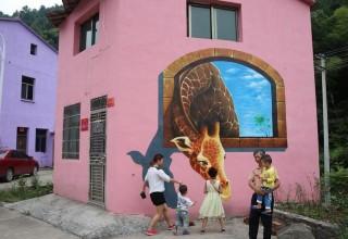 Уличные рисунки 3D оживили китайскую деревню