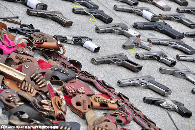 сычуань сожгли нелегальное оружие
