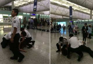 Гражданка КНР арестована после драки с охранниками аэропорта Гонконга
