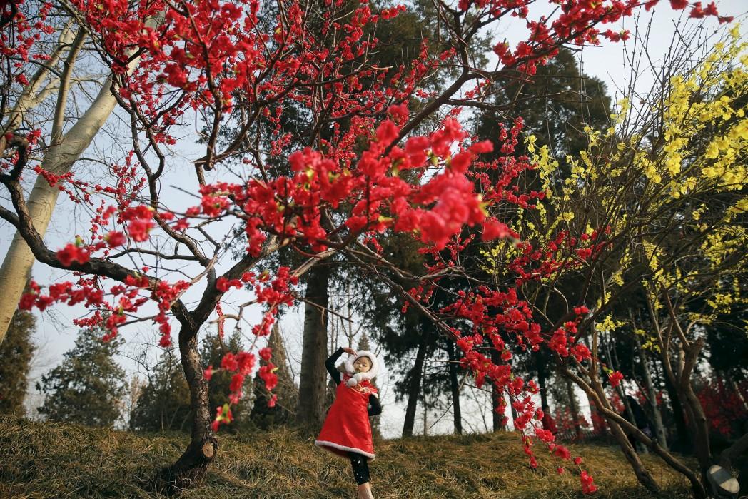 Девочка в парке Дагуаньюань в дни празднования китайского Нового года, Пекин