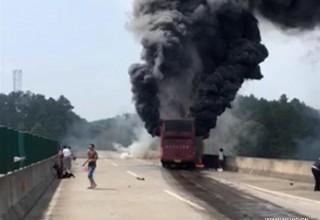 30 человек погибли при возгорании туристического автобуса в центре Китая