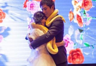 Китайские молодожены «украсили» друг друга питонами