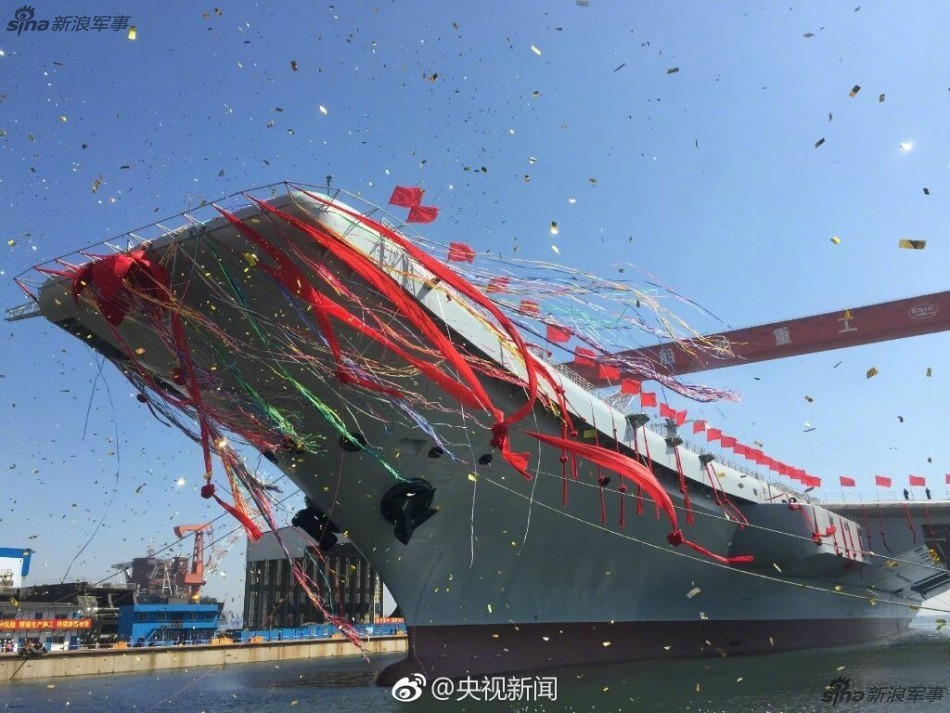 2-ой авианосец ВМС Китая спущен наводу