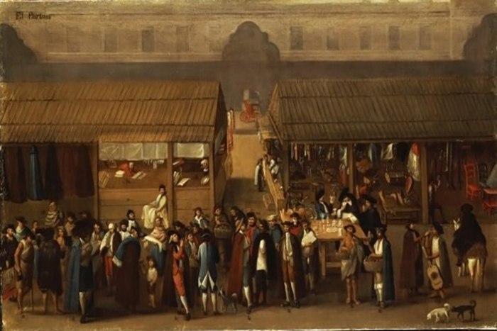 Картина, показывающая  китайский рынок в Мехико, около 1770 года