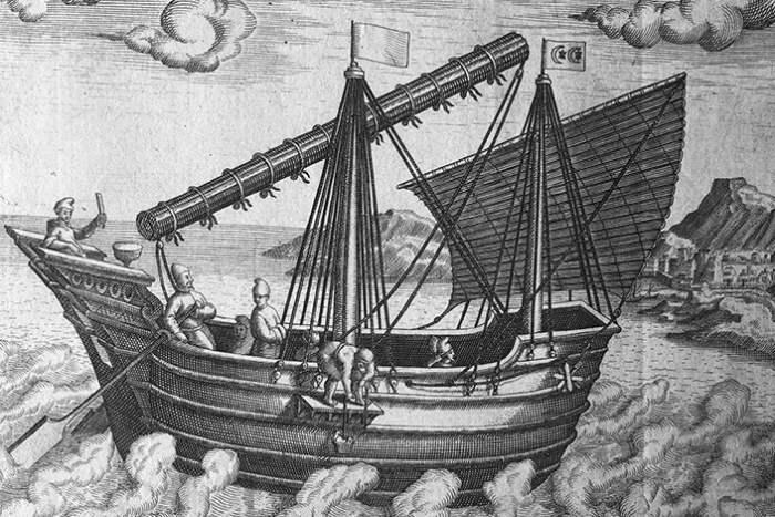 """""""Навигационное судно Китая"""" - одно из первых западных изображений китайского судна, 1602"""