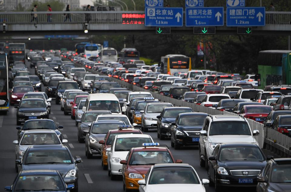 китай автомобили пробки пекин
