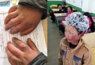 Китайский мальчик появился в школе с инеем на волосах. Он прошел 5 километров по морозу