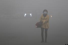 Женщина на улице Харбина в октябре 2013 года.