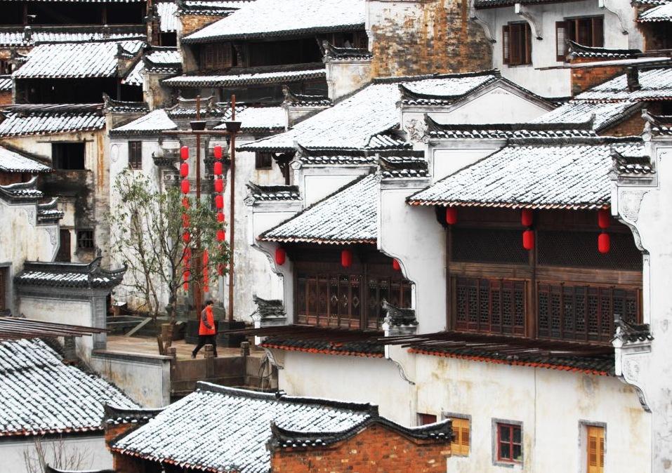 Деревня Хуанлин после выпавшего снега, провинция Цзянси.