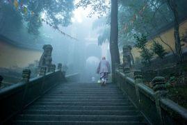 Монах поднимается по ступеням в храме на горе Цзюхуашань, одной из четырёх священных гор китайского буддизма, провинция Аньхой.