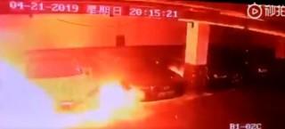 Автомобиль Tesla взорвался в Шанхае