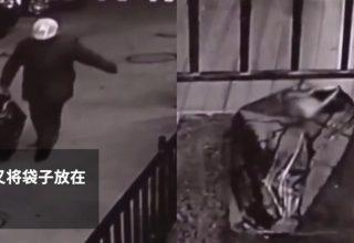 В Китае отец оставил ребенка в сумке у магазина
