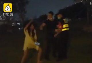 Пьяная китаянка избила охранников тапком и смартфоном. Она не хотела уходить из парка